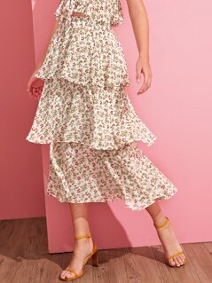 Ruffle Layered Ditsy Floral Print Skirt