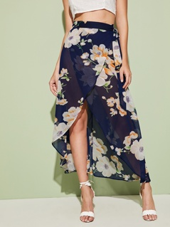 Wrap Belted Asymmetrical Floral Print Semi Sheer Skirt