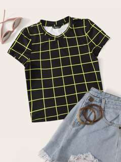 Slim Fitted Neon Grid Crop Tee