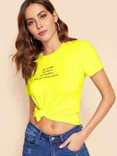 Neon Yellow Slogan Print Tee