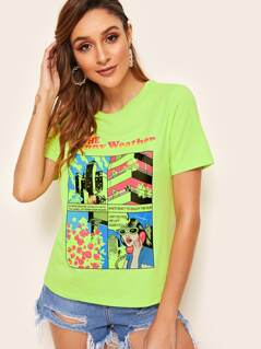 Neon Lime Graphic Print Tee