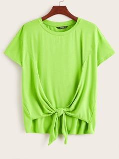 Neon Lime Tie Front Tee