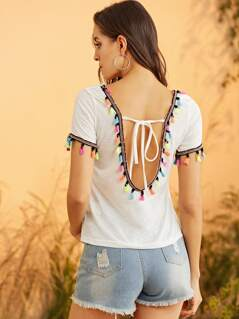 Tie Back Colorful Pompom Detail Top