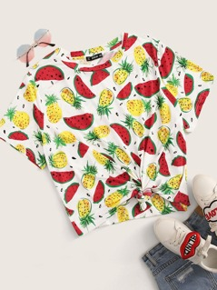 Plus Watermelon and Pineapple Print Top