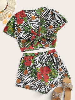 Zebra & Tropical Print Knotted Top & Shorts Set