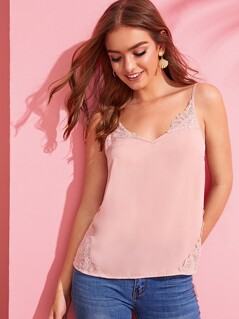 Solid Lace Trim Cami Top