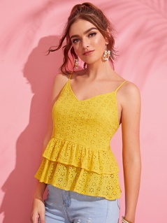 Layered Ruffle Hem Embroidery Eyelet Cami Top