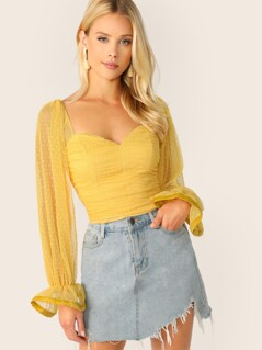 Flounce Sleeve Ruched Front Dobby Mesh Sweetheart Top
