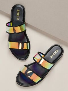 Iridescent Clear Double Bands Slide Sandals