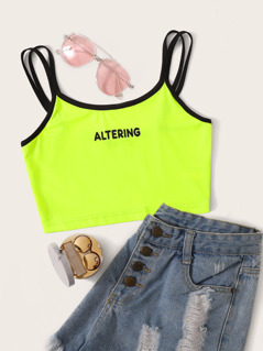 Neon Green Letter Print Double Strappy Crop Top