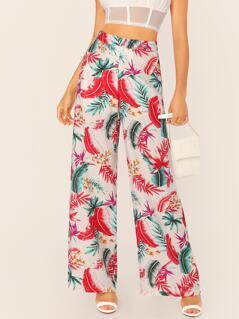 Tropical Leaf Print Wide Leg Linen Pants