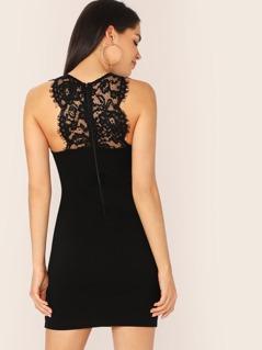Lace Detail Sleeveless Mini Bodycon Dress