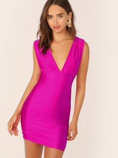 Deep V-Neck Ruched Side Satin Mini Dress