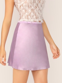 Satin Flared Mini Skirt