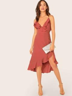 Ruffle Surplice Neck Button Trim Asymmetric Dress
