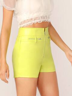 Zipper Front Faux Leather Neon Shorts