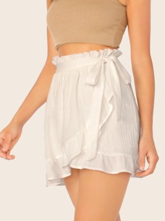 Paperbag Waist Tie Ruffle Trim Wrap Mini Skirt