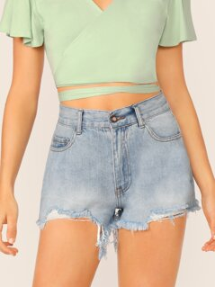 High Rise Distressed Raw Hem Denim Booty Shorts