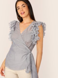 Exaggerated Ruffle Armhole Striped Wrap Belted Top