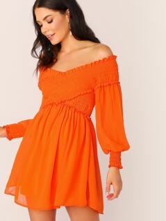 Neon Orange Shirred Panel Cross Wrap Bardot Dress