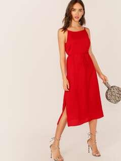 Backless Split Side Belted Cami Dress