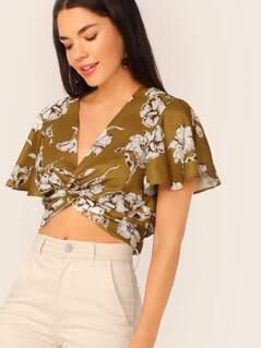 Floral Print Flutter Sleeve Twist Crop Top