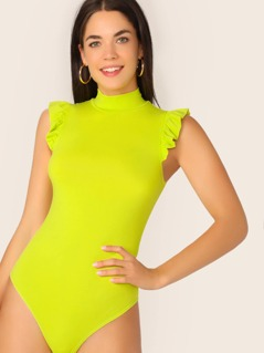 Neon Lime Mock-neck Ruffle Armhole Fitted Bodysuit