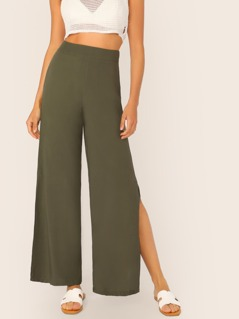 Wide Band Waist Split Side Palazzo Pants