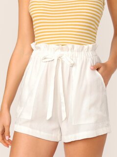 Paperbag Waist Knot Front Patch Pocket Shorts