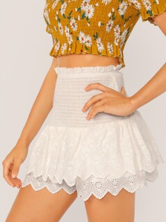 Shirred Panel Layered Schiffy Ruffle Hem Skort