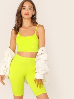 Neon Yellow Fitted Crop Cami Top and Cycling Shorts Set