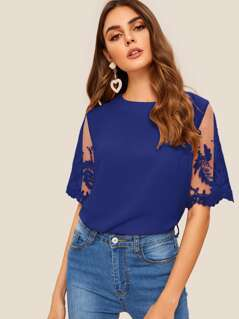 Embroidered Mesh Sleeve Blouse