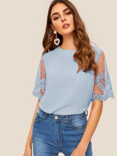 Solid Embroidered Mesh Sleeve Zip Back Blouse