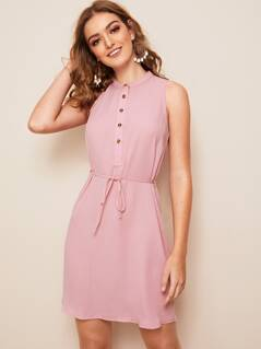 Solid Buttoned Half Placket Belted Dress
