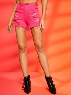 Neon Pink Raw Hem Ripped Detail Denim Shorts