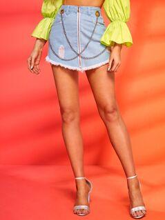 Ripped Raw Hem Zip Front O-ring Chain Denim Skirt