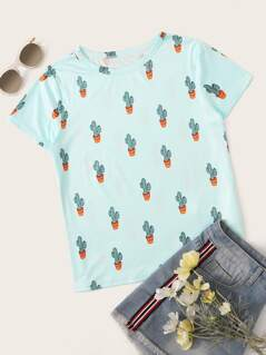 Allover Cactu Print Top