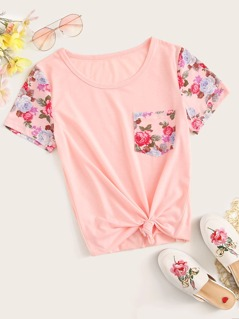 Floral Print Pocket Patched Short Sleeve Top