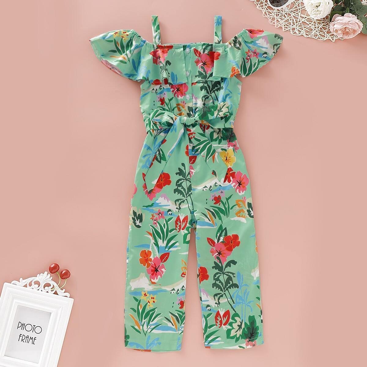 SHEIN / Mono de niñitas con cinturón de hombros descubiertos con estampado floral