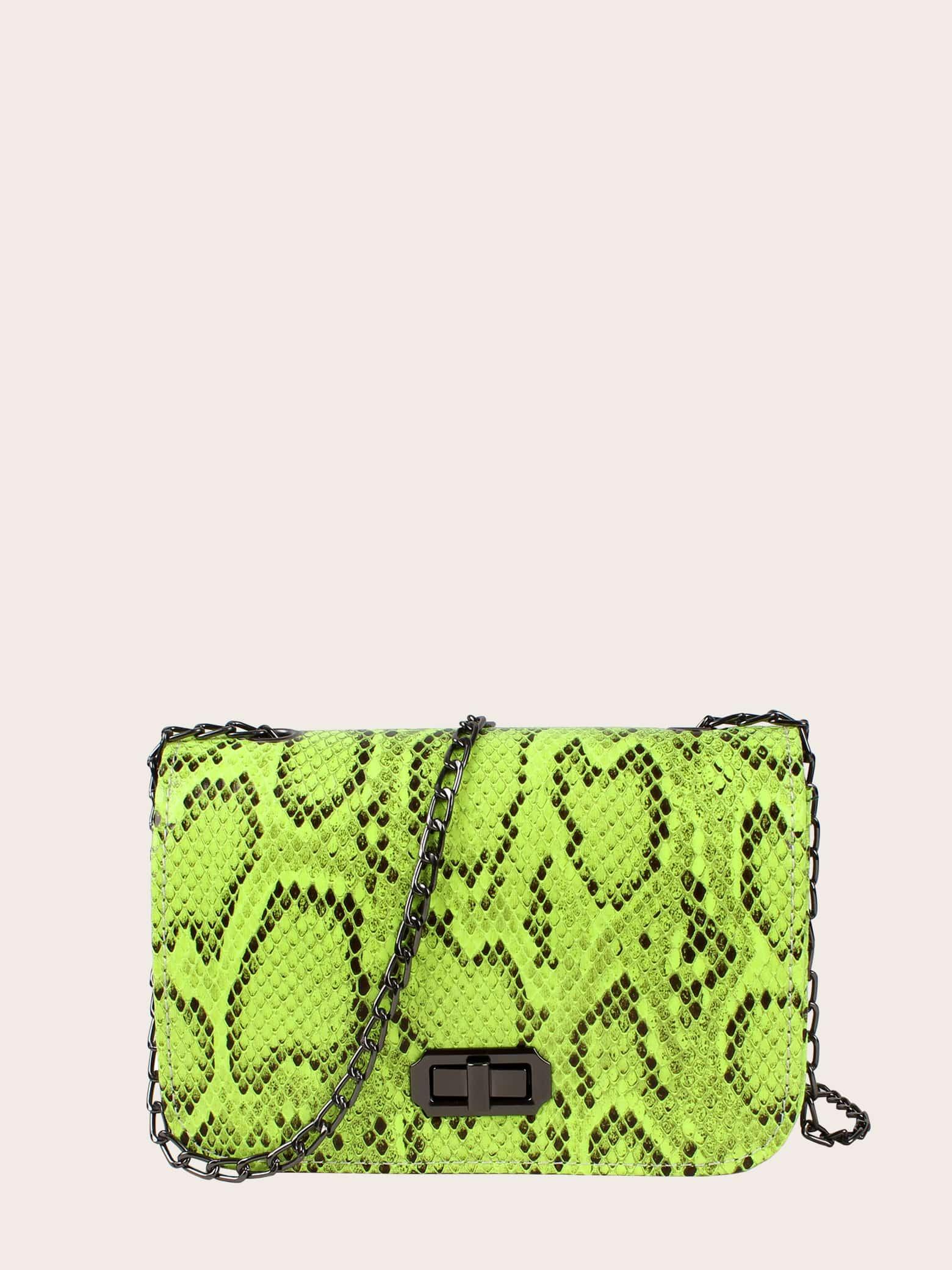 Фото - Неоновая сумка на цепочке с змеиным принтом от SheIn цвет зелёный