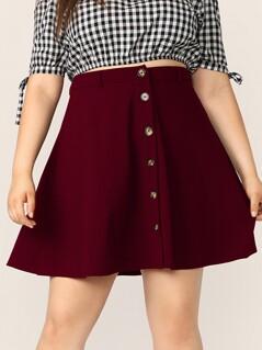 Plus Single Breasted Skater Skirt