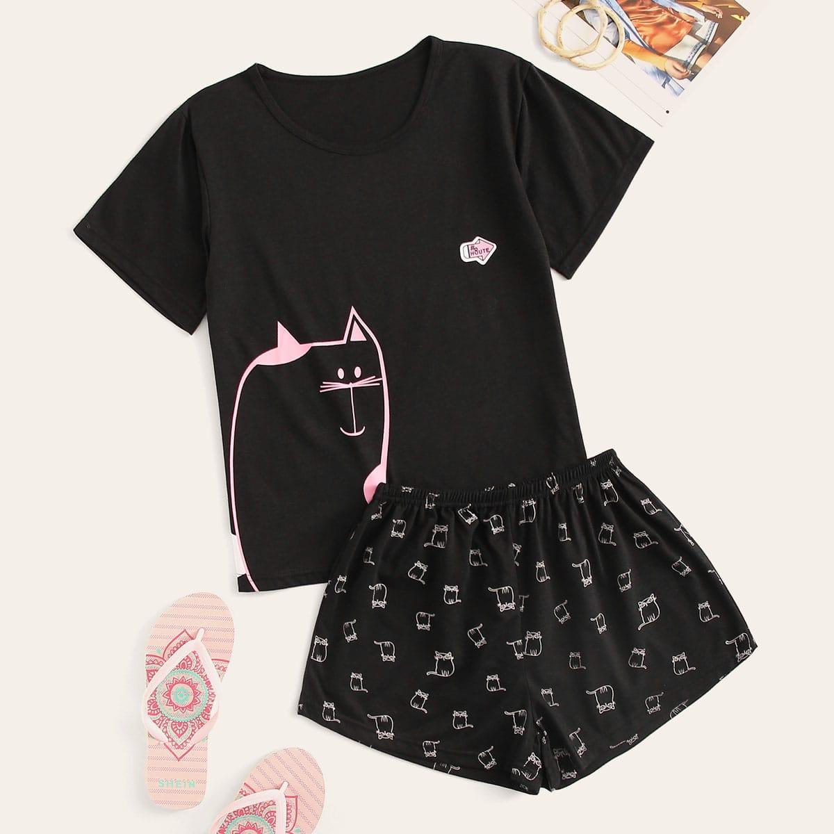 Zwart Casual Spotprent Lounge kleding