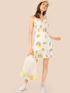 Lemon & Dot Print Frill Trim Slip Dress