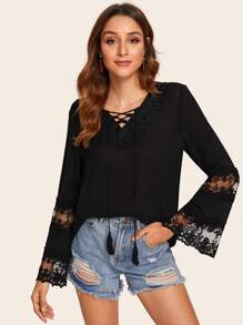 Contrast Lace Lace-up Tassel Blouse