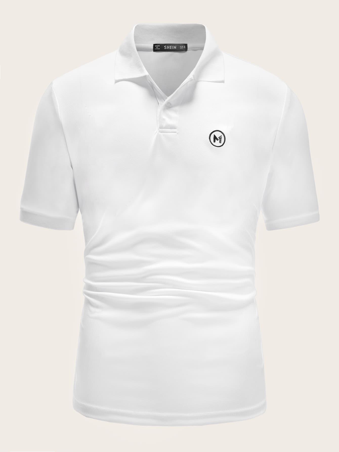 Фото - Мужская рубашка-поло с вышивкой от SheIn белого цвета