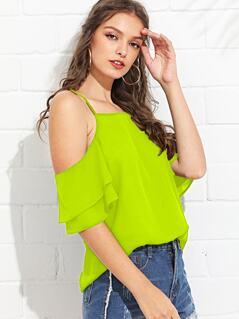 Neon Lime Cold Shoulder Cami Top