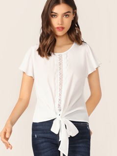 Lace Insert Flutter Sleeve Knot Front Top