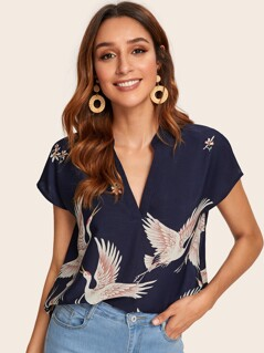 V-cut Neck Red-crowned Crane Print High-low Hem Top