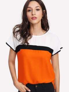 Neon Orange Keyhole Back Cut-and-Sew Top