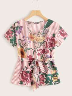 Striped and Floral Print Belted Top